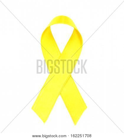 Yellow ribbon isolated on white. Suicide, endometriosis, bone cancer concept