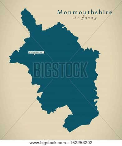 Modern Map - Monmouthshire Wales Uk Illustration