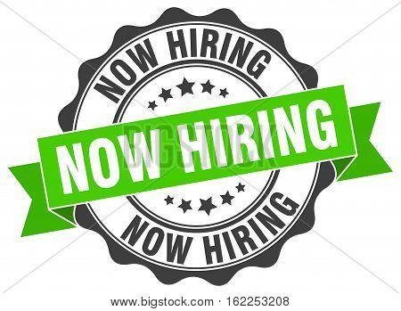 now hiring. stamp. sign. seal. round. retro. ribbon