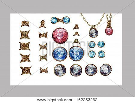 Hand drawn crystal gemstones gems isolated set. Gold connectors for jewelry necklace. Brilliant diamond ruby sapphire. Raster art illustration.