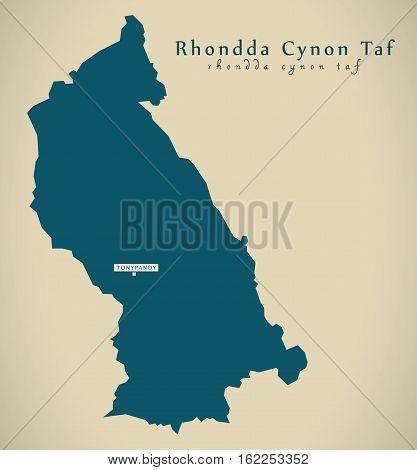 Modern Map - Rhondda Cynon Taf Wales Uk Illustration