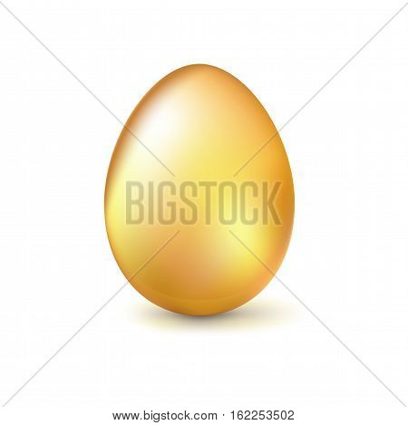 Golden egg, Realistic Ester egg with reflections and reflexes, volumetric 3D vector illustration.