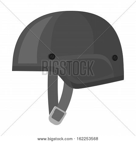Army helmet icon in monochrome style isolated on white background. Military and army symbol vector illustration