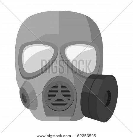Army gas mask icon in monochrome style isolated on white background. Military and army symbol vector illustration