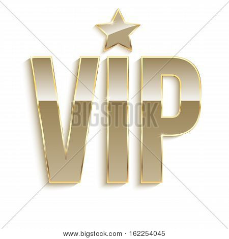 Golden symbol of exclusivity, the label VIP. Very important person - VIP icon with effect of glass reflection, sign of exclusivity with bright, Golden glow. Template for vip banners or card