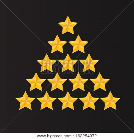 Set of rating stars. Gold, metal five-pointed stars in the shape of a Christmas tree. isolated on black background