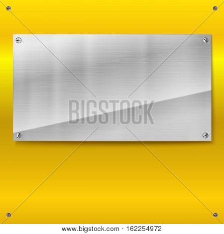 Shiny brushed metal plate with screws. Stainless steel banner on yellow polished background, vector illustration for you
