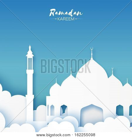 Origami Mosque Window Ramadan Kareem Greeting card with arabic arabesque pattern on blue background. Holy month of muslim. Symbol of Islam. Applique Vector illustration.