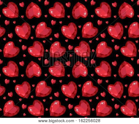 Jewelry ruby red heart seamless pattern. Brilliant, gems hearts endless background, texture, wallpaper. Valentines Day. Vector illustration