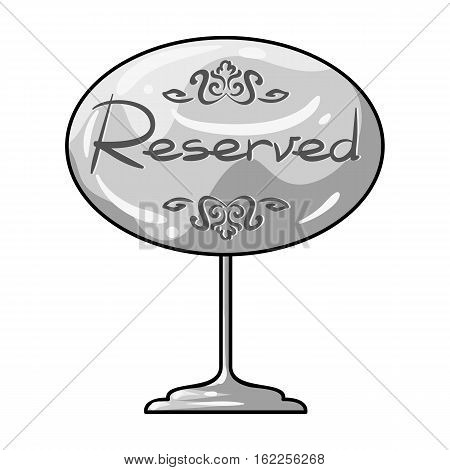 Restaurant golden reserved sign icon in monochrome style isolated on white background. Restaurant symbol vector illustration.
