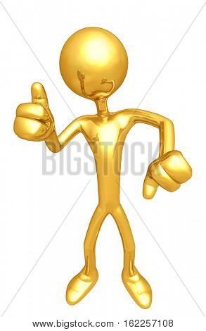 The Original 3D Character Illustration With Thumbs Up Thumbs Down