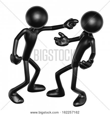The Original 3D Characters Illustration Arguing