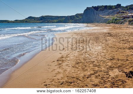 amazing panorama of Xi Beach,beach with red sand in Kefalonia, Ionian islands, Greece