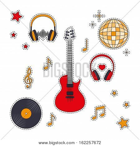 Fashion patches badges with headphones guitar record notes treble clef disco ball. Set of stickers pins patches in cartoon 80s-90s comic style. Vector illustration on white background.