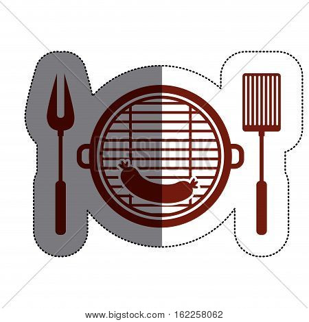 Grill and sausage icon. Bbq menu steak house food and meal theme. Isolated design. Vector illustration