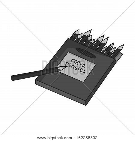 Colored pencils for drawing in box icon in monochrome style isolated on white background. Artist and drawing symbol vector illustration.
