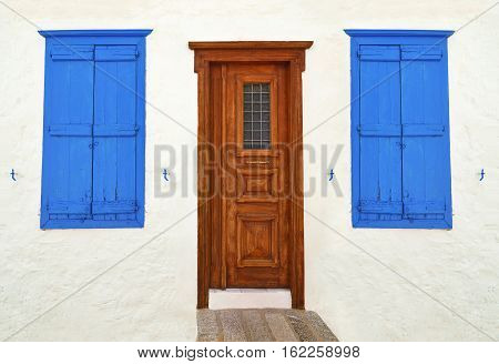 wooden door and windows at Hydra island Greece - exterior traditional architecture