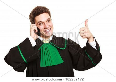 Technology and career legal advice. Young male lawyer make phone call talk help give advice with thumbs up.