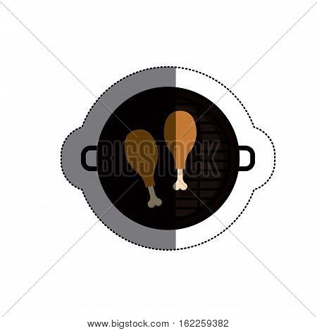 Grill and chicken meat icon. Bbq menu steak house food and meal theme. Isolated design. Vector illustration