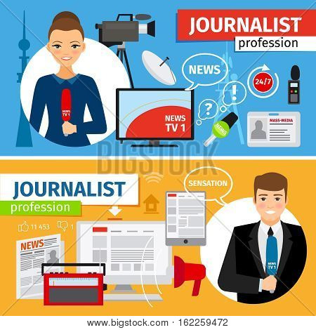 News and journalist profession horizontal banners set. Vector illustration