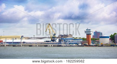 Oil station in seaport in Klaipeda in Lithuania.