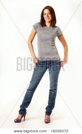 Full length body shot of attractive pretty woman smiling set against white background