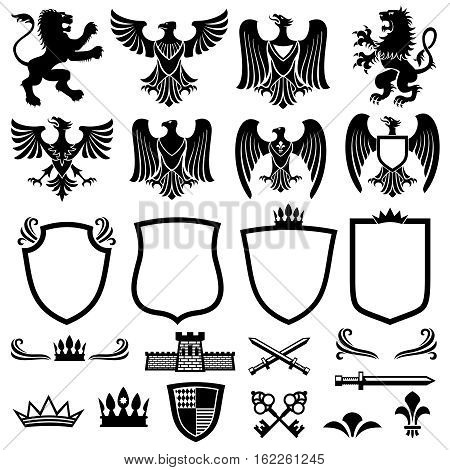 Family coat of arms vector elements for heraldic royal emblems. Crown and shield for royal badge, illustration of royal coat of arm