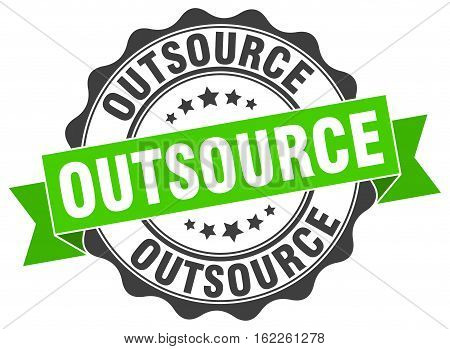 outsource. stamp. sign. seal. round. retro. ribbon