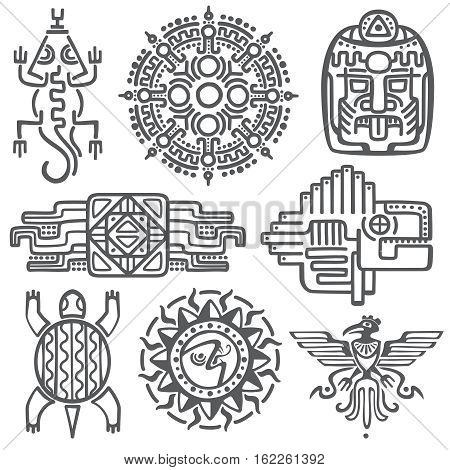 Ancient mexican vector mythology symbols. american aztec, mayan culture native totem patterns. Aztec and mexican tattoo, illustration of mayan symbol tattoo poster