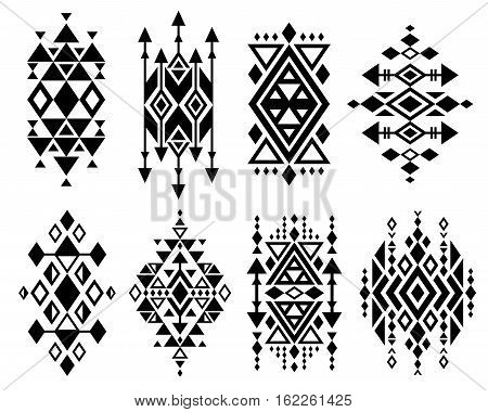 Vintage mexican aztec tribal traditional vector logo design, navajo prints set. Decoration traditional aztec design, ilustration of geometric aztec tribal tattoo