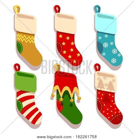 Traditional christmas, xmas colorful stocks vector set. Christmas socks for gift, winter sock to holiday illustration