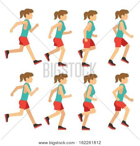 Running woman, female runner animation frame loop sequence. Animation of woman runner for game, young runner jogging. Vector illustration