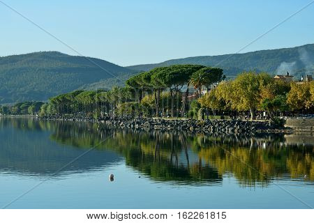 Trevignano Romano waterfront reflection on Lake Bracciano near Rome
