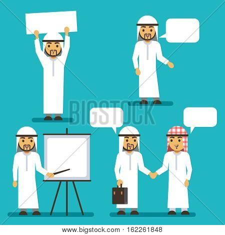 Arab man vector characters with blank banner and speech bubbles. Arabic meeting people. Arab business people cooperation and communication illustration