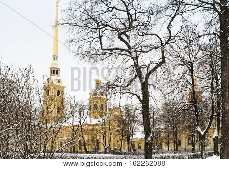 St. Petersburg, Russia - 2 December, Winter in the Peter and Paul Fortress, 2 December, 2016. Land and building the Peter-Paul fortress.