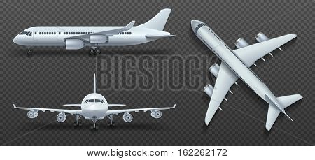 Aircraft, airplane, airliner in different point of view vector. Set of air plane front side and top illustration