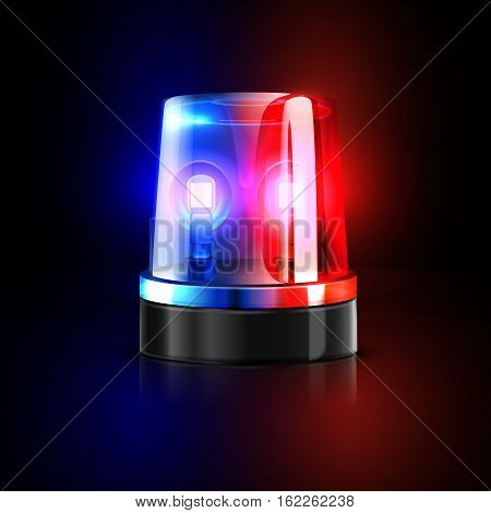 Emergency flashing police siren vector illustration. Police signal flasher isolated on black background