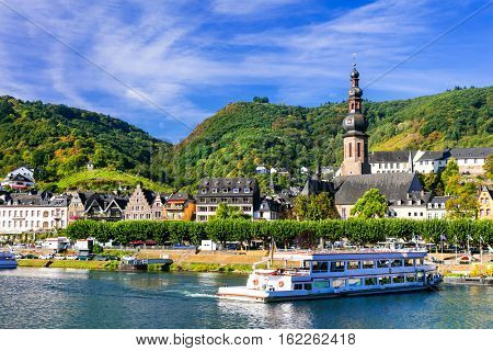 Romantic Rhein river cruises. Beautiful Cochem town. Germany