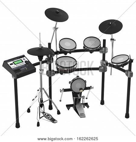 Electronic Drum Kit on white background. 3D illustration