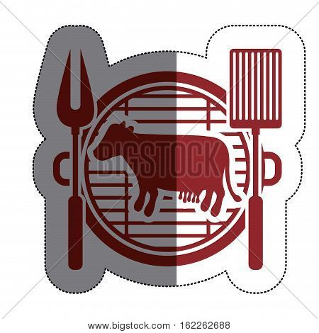 Grill and cow meat icon. Bbq menu steak house food and meal theme. Isolated design. Vector illustration