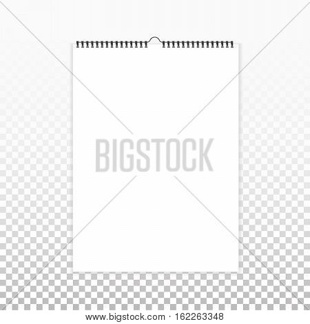 Realistic sheets of paper with spiral on a isolated transparent background. Blank calendar mock up. Design of white notebooks vertical wall calendars cards. Stock vector.