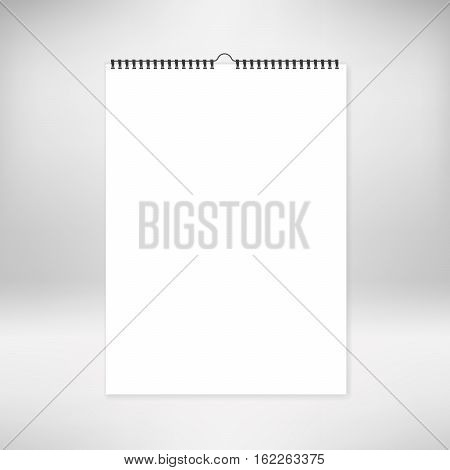 Blank calendar mock up template. Stock vector. Realistic sheets of paper with spiral isolated on background. Design of white notebooks vertical wall calendars cards.