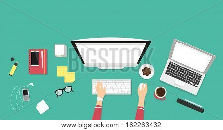 Human female hands typing on the computer keyboard using laptop with white screen. Business desktop illustration on green background with screen blank for placing website screenshots