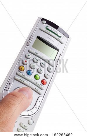 A Hand Holding A Remote Control Isolated Over A White Background