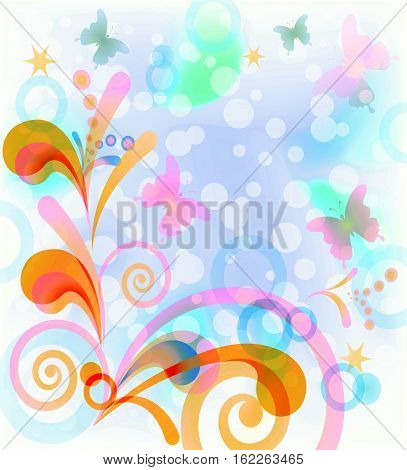 Abstract background with symbolical butterflies and figures