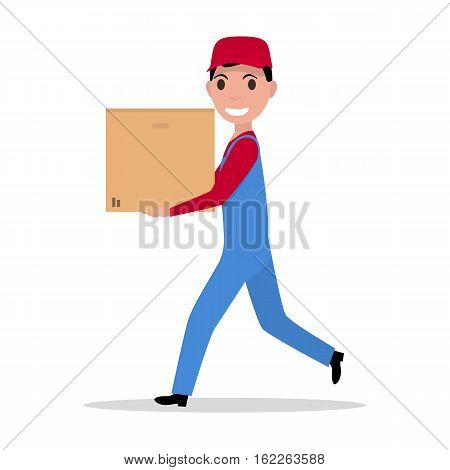 Vector illustration cartoon running delivery man with cardboard box. Concept fast delivery goods to home. Isolated white background. Flat style. Courier boy carries a box. Loader profession.