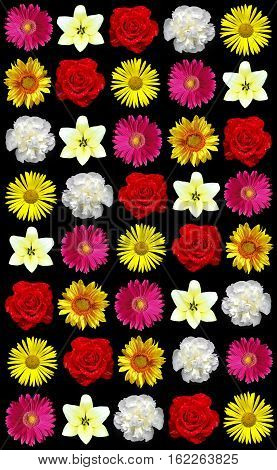 A variety of roses,gerberas,sunflowers,lilies,daisies on a black background.