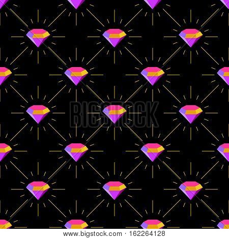Diamonds colorful luxury jewellery seamless pattern. Diamonds with scattered rays on a black background.