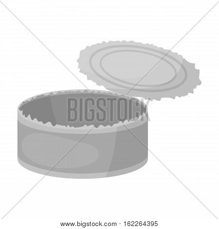 Opened metal tin can icon in monochrome style isolated on white background. Trash and garbage symbol vector illustration.
