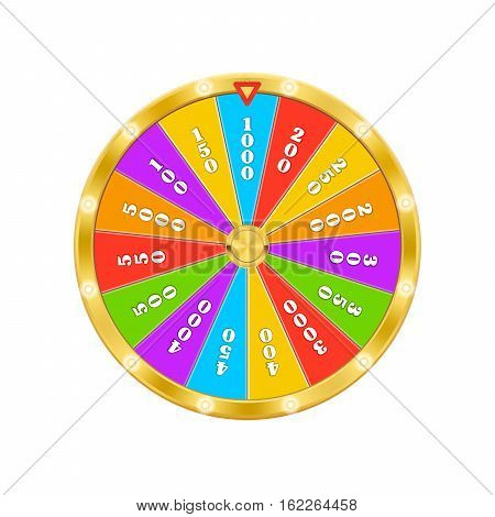 Gold Fortune Wheel. Realistic vector Illustration. Lucky game winner money casino - stock vector. 3d object isolated on white background.